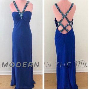 Faviana Couture Blue Beaded Cut Out Back Gown